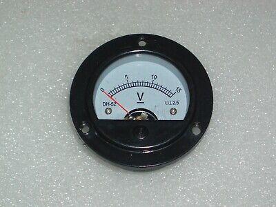 Analog Panel Meter Dc 0-15v  Voltmeter Range 0-15vdc Round Dh-52