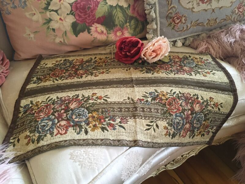 Lovely Antique Victorian Tapestry table runner metalwork trim floral pattern #1