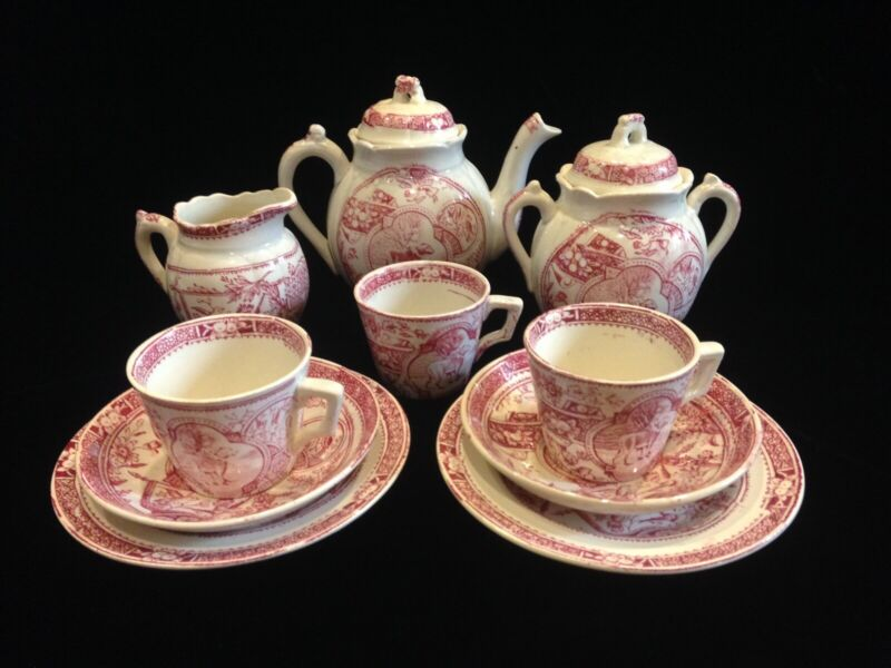 C. A. & Sons Staffordshire, England - Transfer Child's Tea Set Child With Dog