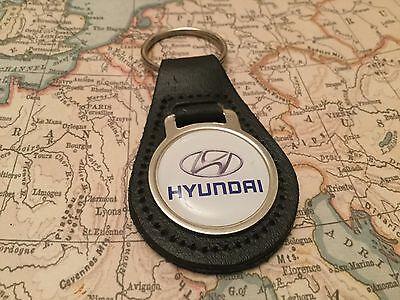 Hyundai Calidad Piel Auténtica Negro Llavero i 10 20 30 40 Tucson Santa Fe