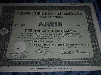 552 :histor.Wertpapier /Aktie ,Zellstoff & Papier in Aschaffenburg ,17.Juni 1929