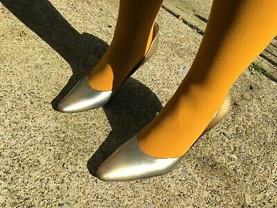 Vintage Style Hobbs Italian Ladies Patent Leather Stiletto Metallic Shoes 39 6 for sale  Shipping to South Africa