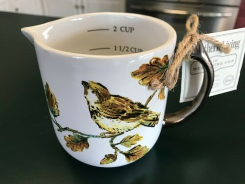 Southern Living Stoneware 2 Cup Measuring Cup Birds Leaves New With Tags