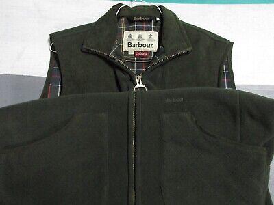 Barbour Green Dunmoor Gilet Full Zip Fleece Vest Men's Large Plaid Lining