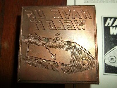 No.4 Antique Nos New Have Us Weld It Copper Cut Letterpress Printing Vintage
