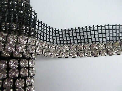 Double Row Crystal Rhinestones on Black Mesh Net Trim - 57 inches Double Row Crystal