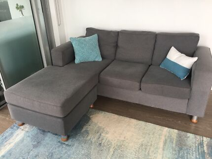 3 Seater Lounge with reversible chaise, newly cleaned