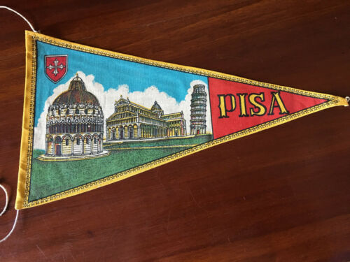 Vintage European travel Pennants/Flags Pisa Italy