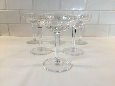 6 coupes à champagne en cristal OSRAM cotes plates. H: 135 mm VAL SAINT LAMBERT