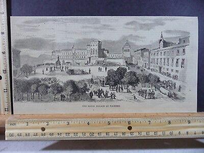(Rare Antique Original VTG Royal Palace At Palermo Sicily Engraving Art Print)