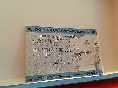 Football Ticket - Wolfes VS Manchester city - 1999