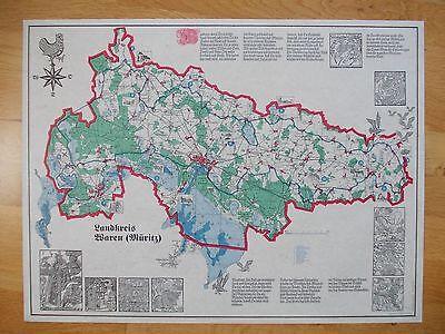 """Plakatgrafik """"Landkreis Waren (Müritz) 1993 von S. Dittner -  57 x 43 cm"""