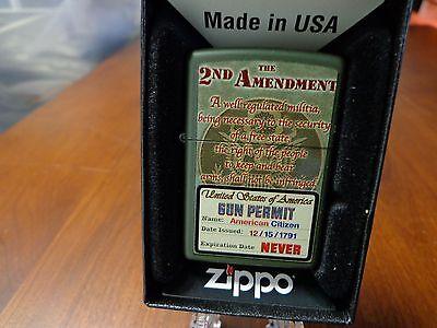 GUN PERMIT 2ND AMENDMENT AMERICAN CITIZEN GREEN MATTE ZIPPO