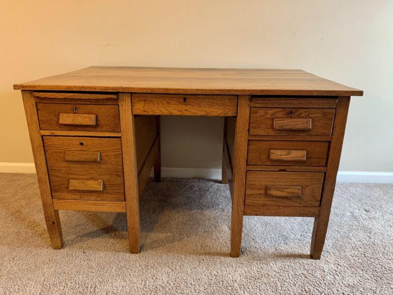 1940's Vintage Oak wood Teachers Desk