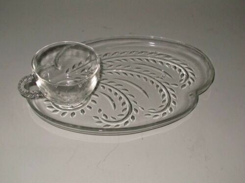 Vintage Federal Glass Clear Homestead Snack Set Plate and Punch Cup