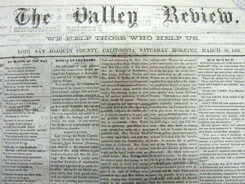 Rare original 1880 LODI California newspaper SAN JOAQUIN COUNTY 140 years old !