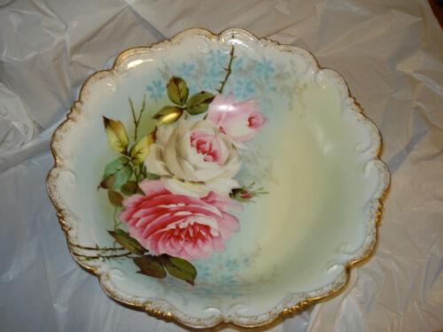 """Vintage Porcelain Vienna Austria  Roses Serving Bowl 10"""""""