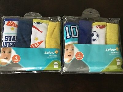 NEW 8 pieces boys Safety 1st First Washcloths Baby Childrens Cotton - Sports