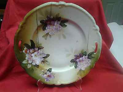 Vintage R S Prussia Old Red Mark 1880-1910 Porcelain Plate with Purple/White Flo