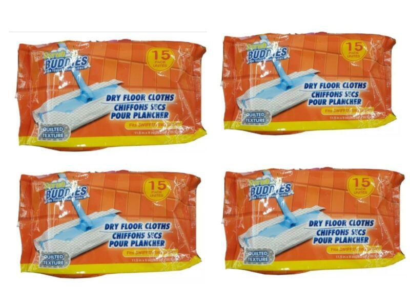 (4)pack (60)pads fits Swiffer Sweeper Dry Mop Pad Refills scrub buddies brand