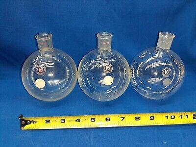 Lot Of 3 500 Ml Lab Glass Boiling Flask Vintage Lab Equipment Bunsen Burner