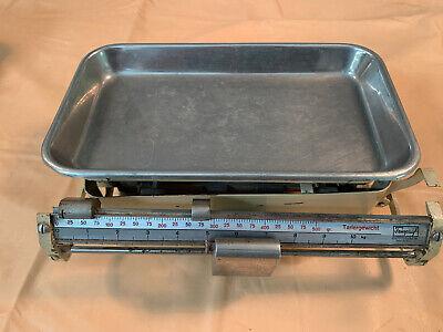 Vintage Feinpruef White Enamel Chrome Kitchen Scales ADJUSTING WEIGHT metals