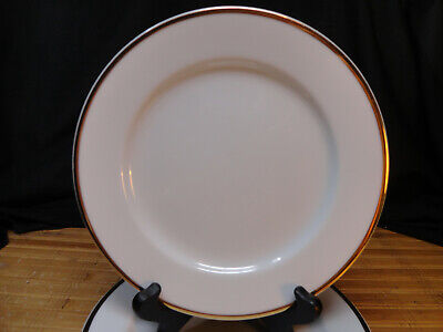 THE CELLAR SALAD PLATES, Set of 4, White with Gold Trim, Fed. Dept. Stores 8