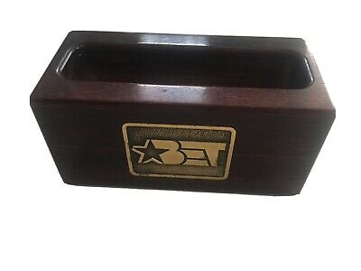 Black Entertainment Television Bet Desk Business Card Holder Mahogany