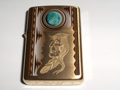 Zippo Engraved Indian and Turquoise Moon Decal Brushed Brass Lighter 2020