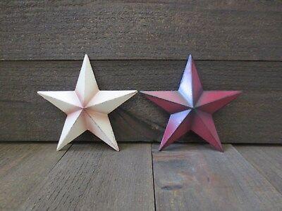 "Set of 2 Red & White Primitive 6"" Barn Stars Metal Christmas Patriotic Americana"