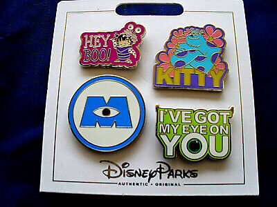 Disney Parks * MONSTERS INC * 4 Pin Set on Card Trading Pins - Sulley Boo Logo  - Sulley Monsters Inc