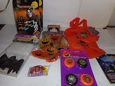 9 ASSORTED HALLOWEEN ITEMS CANDY HOLDERS, CRITTERS AND WEB SET, GLOW NAIL KILLER