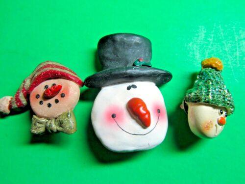 (3) VINTAGE SNOWMEN FACES CHRISTMAS HOLIDAY RESIN PINS (83)