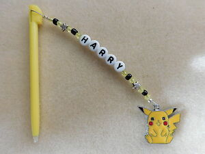 Personalised DSi DS Lite Stylus / Pen with charm Pikachu Pokemon Yellow