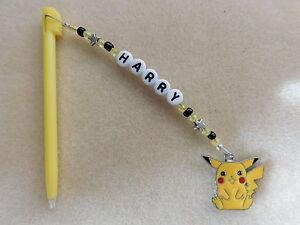 Personalised DSi DS Lite Stylus / Pen with charm Pikachu Pokemon Yellow