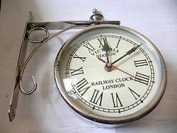 VICTORIA ~ STATION ~ RAILWAY SILVER CLOCK LONDON DOUBLE ~ SIDE  CLOCK 12 INCHES