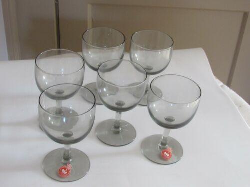 """Holmegaard Vintage Smoke Glass Wine Glasses stems goblets  6 Elsinore 4 3/8"""""""