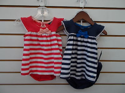 Infant Girls Nautica $32.50 2pc Rose Coral or Navy Striped Dress Size 0/3m - 24m