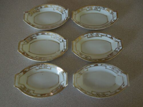 VINTAGE NIPPON BUTTER PATS WITH GOLD TRIM SET OF 6