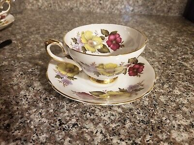Tea Cup Saucer Royal Sutherland Staffordshire England Red Yellow Purple Flower