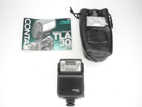 Contax TLA 30 Camera Flash w/ Case / Diffuser / Instruction (Tested & Working)