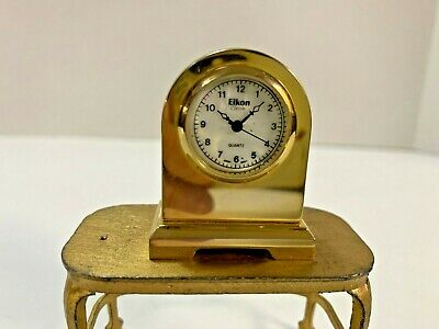 Vintage Solid Brass Dollhouse Miniature - Eikon Mantle Clock Working #2