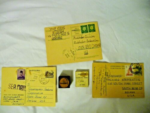 STUDEBAKER Wood Logo Stamp & 20 amp Fuse Box w/4 Fuses & Postcards RARE