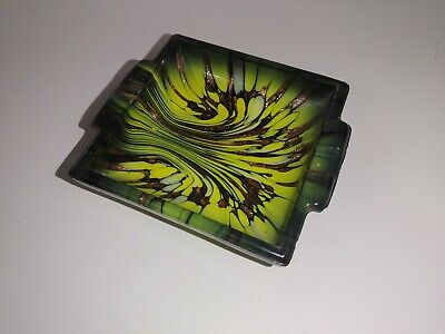 """Vintage Mid Century Wicked Psychedelic Glass Glitter Swirl Ashtray 4"""" x 4.5"""""""