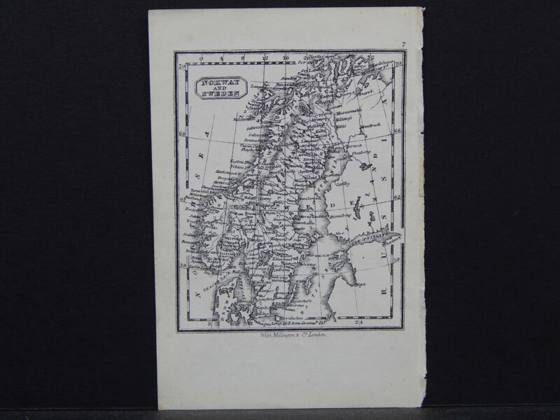 Miniature Map, c. 1850 #29 Norway and Sweden