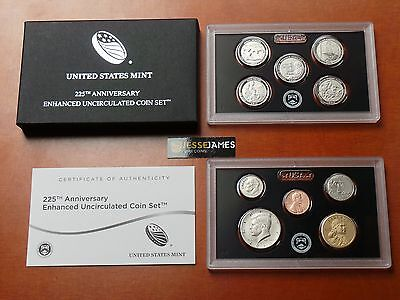 2017 S 225TH ANNIVERSARY ENHANCED UNCIRCULATED 10 COIN SET 17XC PENNY - QUARTERS