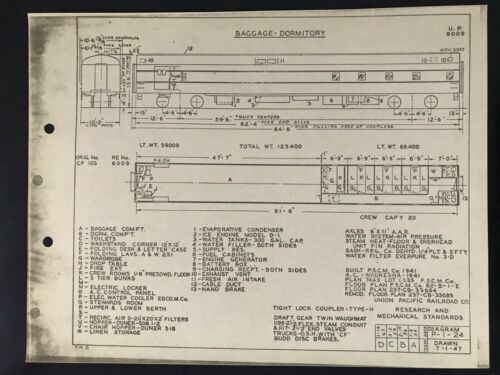 Vintage Union Pacific Railroad Passenger Equipment Diagram Baggage - Dormitory