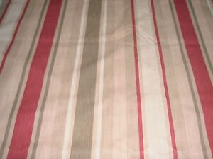 LAURA ASHLEY AWNING STRIPE RASPBERRY / LICHEN FABRIC COTTON / LINEN 2.25 METRES