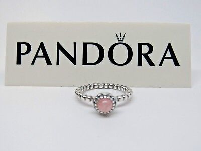 - New w/Box Pandora Pink Opal Birthday Bloom Ring 190854POP Sizes October Stack