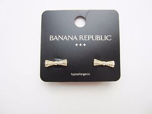 Banana Republic Sparkle Bow Tie Pierced Earrings Gold Tone Studs Sparkle NWT